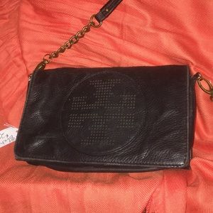 Tory Burch Bags - RESERVED Tory Burch blk leather crossbody clutch